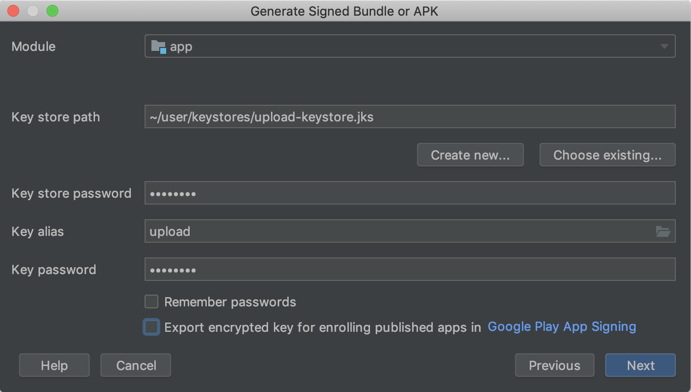 Como crear una keystore para firmar un apk